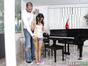 Tiny Piano Playing Cutie Pounded By The Big Cock