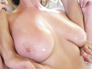 His Hottie Has Massive All Natural Oiled Up Tits